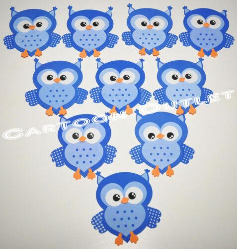 "10 pc BABY SHOWER FAVORS GIFTS BLUE OWL DECORATION CENTERPIECE FOAM RECUERDOS 4/"""