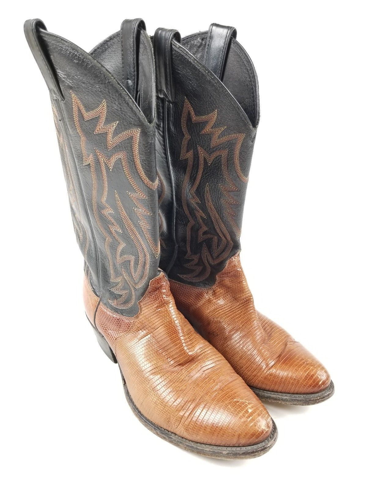 Justin Boots 9312 Peanut Brittle Iguana Lizard Leather Western Men's Size 8 EE