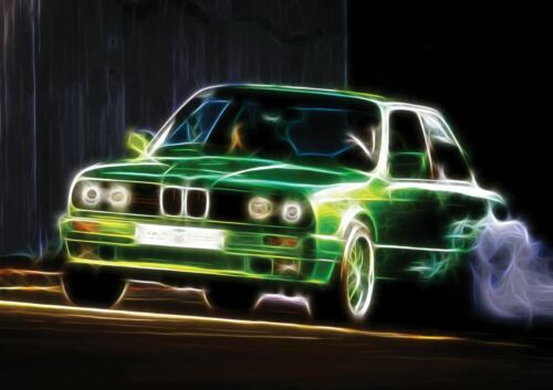 BMW 3 SERIES E30 ELECTRIC EM3 1984 LIGHT ART A3 ART PRINT POSTER YF5080