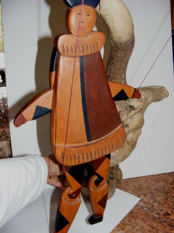 WOOD Asian JESTER wooden Inlay Jointed MARIONETTE PUPPET 18.5  Handmade Antique