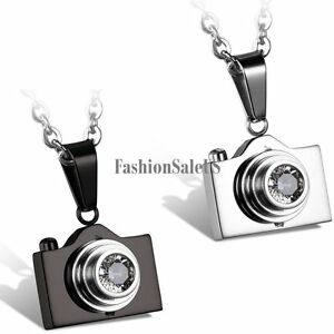 4f77f760e9e45 Details about New Stainless Steel Rhinestone Camera Pendant Men's Women's  Charm Necklace Chain