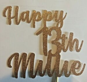 Custom-Cake-Topper-Happy-13th-14th-15th-16th-Any-age-Glitter-GOLD-Any-Words-Name