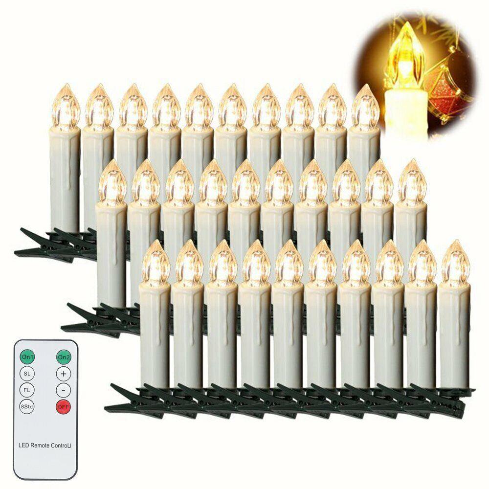 10-100er LED Weihnachtskerzen Kerzen Lichterkette Baumkerzen Innen Und Außen