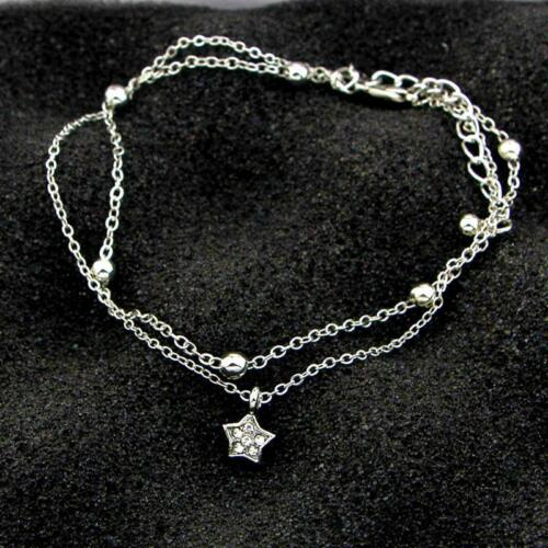 Hot Foot Chain Anklets Thin Gold Tone Love Heart Ankle Bracelet Double Layer W