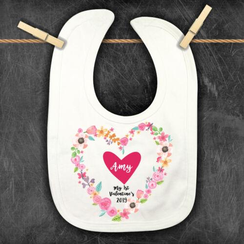 1st Valentine/'s Personalised Baby,Toddler Bib,Personalised Bandana Bib,Heart