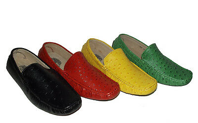 New Fashion Ostrich embossed Vegan leather LOAFER SLIP ON MOCCASIN Men's shoes