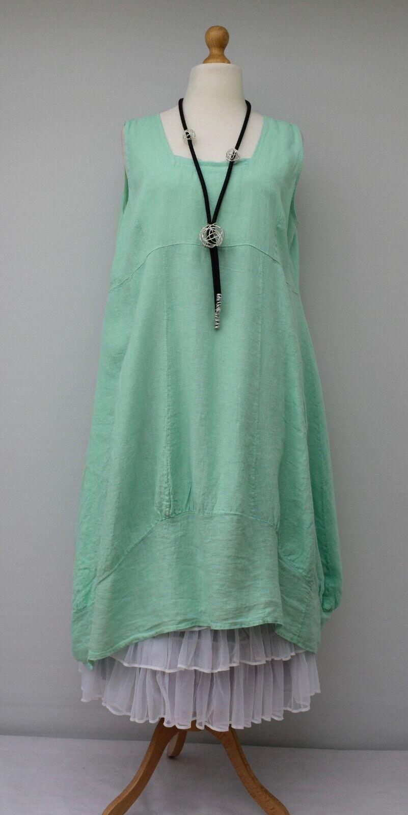 Übergröße Leinen Einfarbig 2 Taschen Langes Kleid Mint XL-XXL 52-54