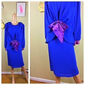 Details about Vintage 80s NWT NOST Blue & Purple Chiffon Dynasty Party Glam  Plus Size Dress L