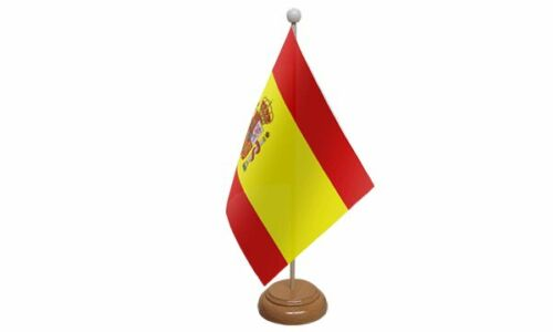 Spain State Table Desk Flag With Wooden Base
