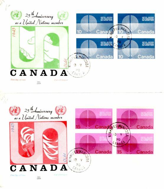 1970 #513-4p TAGGED United Nations 25th Anniversary set of2 FDC with Cole cachet