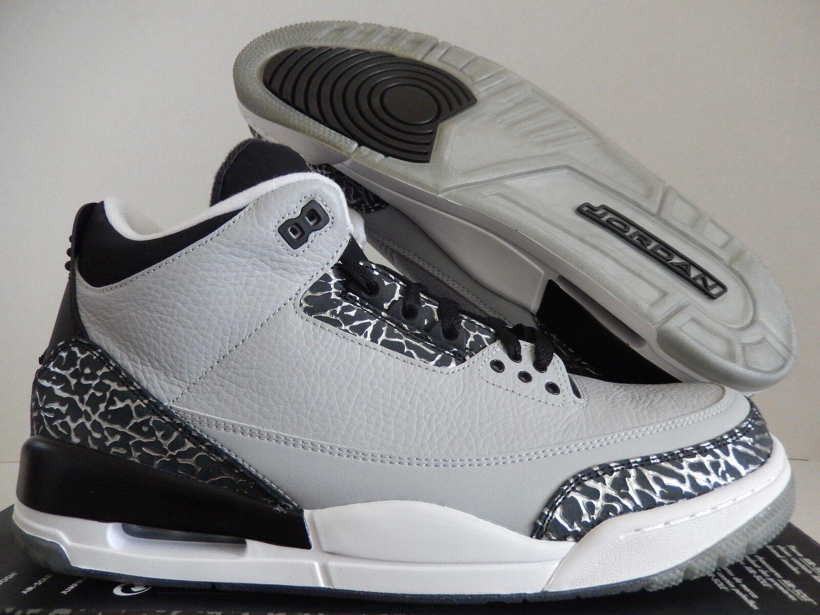 0b4f497a704 NIKE AIR JORDAN 3 RETRO WOLF GREY-WHITE-BLACK SZ 8 [136064-004]  nckrzw7488-Athletic Shoes