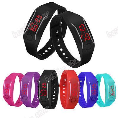 Mens Womens Unisex LED Silicone Watch Date Sports Bracelet Digital Wrist Watch