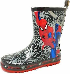 Детская, для детей, для мальчиков Человек паук черный снег дождь wellies резиновые сапоги размер 8-2