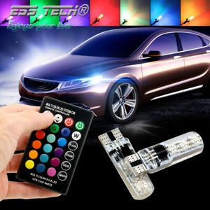 Kit-T10-W5W-194-lumieres-LED-auto-ampoules-RGB-12V-2W-lampes-Canbus-sans-erreur