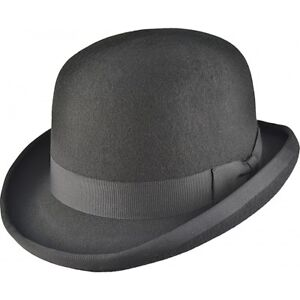 ffad2465e23 iHatsLondon Mens black 100% Felt bowler top hat weeding ascot party ...