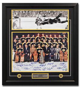 1970 Boston Bruins Stanley Cup 16 Player Team Signed Bobby Orr Goal 27x29 Frame