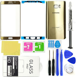 for-Samsung-Galaxy-Note-5-OEM-Gold-Front-Screen-Glass-Back-Replacement-Glass-Kit