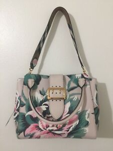 Image is loading BURBERRY-Medium-Buckle-Floral-Calfskin-Leather-Tote-bag- bbcdf301c4