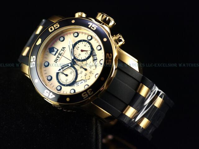 NEW Invicta 48mm Pro Diver Scuba 18k Gold IP Quartz Chronograph Poly Strap Watch