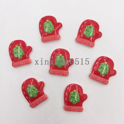 DIY 10pcs Resin  Christmas tree gloves Flatback stone//Children scrapbook crafts