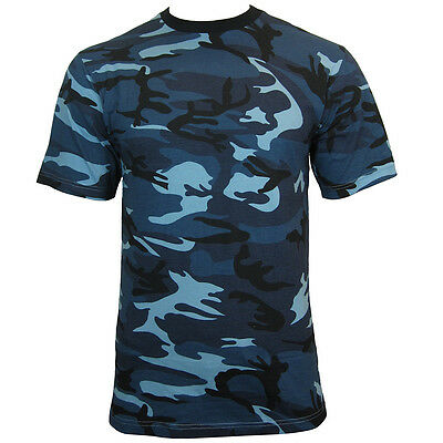 Blue Urban CAMO Army T-Shirt - ALL SIZES - Cotton Camouflage Tops