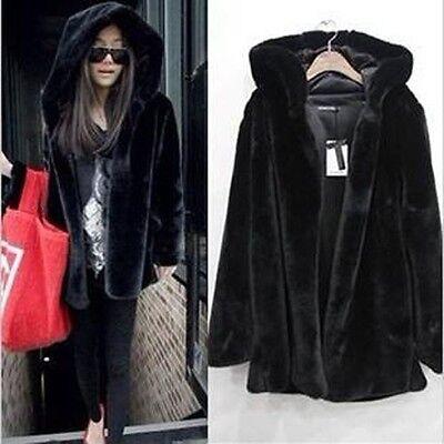 Fashion Women Winter Black Warm Faux Fur Long Sleeve Hooded Jacket Coat