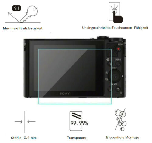 Sony hx99 0,4 mm adhieren display protección de vidrio película protectora lc7674