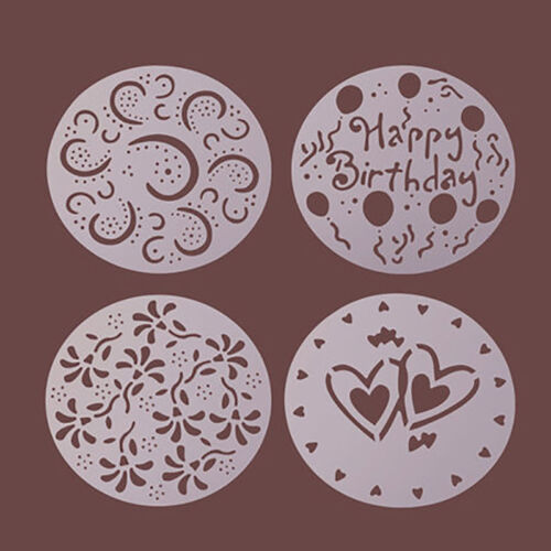 4pc Kitchen Baking Cake Mold Birthday Party Flower Heart Decorating Stencil Tool