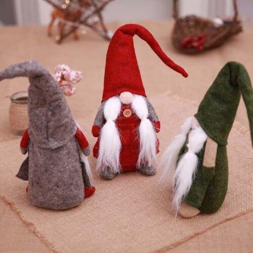 Cute Santa Dwarf Nordic Gnomes With Snowflack Hats Xmas Home Ornaments KV