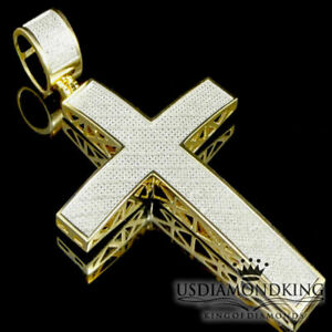 MEN-LADIES-REAL-GENUINE-DIAMOND-14K-YELLOW-GOLD-FINISH-JESUS-CROSS-CHARM-PENDANT