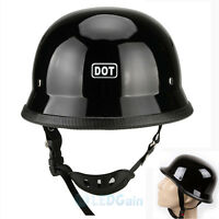 Motorcycle Gloss Black Dot German Half Face Helmet Chopper Cruiser Biker M L Xl