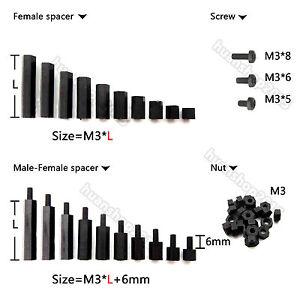 M3 5+6mm Male Female Thread Nylon Hex Standoff Spacer Pillar 100pcs