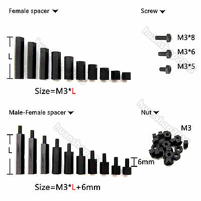 25/50/100pcs Black Plastic Nylon M3 Hex Column Standoff Support Spacer Screw Nut