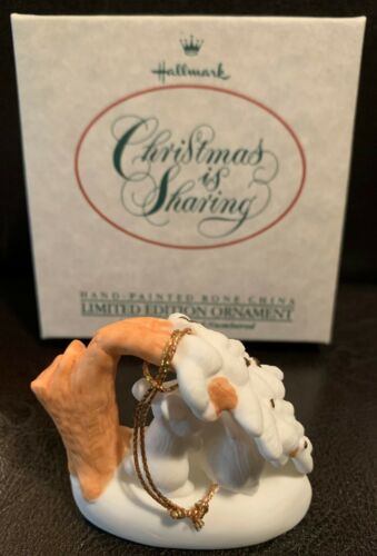 Details about  /HALLMARK Christmas is Sharing Hand Painted Limited Ed Ornament 49,900 max