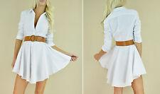 White FLARED SKIRT Fit  Flare Long Sleeve Peplum Button Up Sexy Shirt Dress S