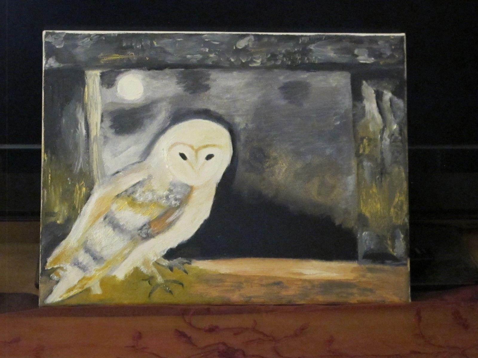 Malerei Kunst Eule am Fenster Acrylfarbe Winternacht   Elegant Und Würdevoll