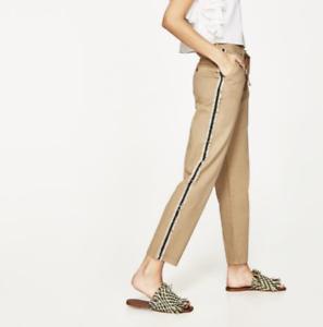 579e1632867972 Zara Tan Trousers Pants With Side Bands Fringe Stripe Drawstring ...