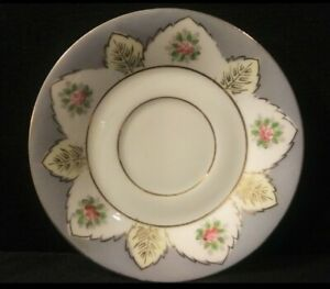 Vintage-UCAGCO-Marked-Saucer-Made-in-Japan-Blue-With-Pink-Roses-Gold-Trim-5-034