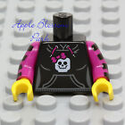 NEW Lego Female BLACK MINIFIG TORSO Girl Sweat Shirt Dark Pink Bow Hoodie Jacket