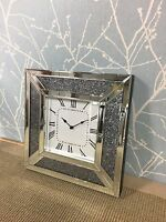 Sparkly Silver Mirrored Glass Crushed Diamond Crystal Square Wall Clock 40x40cm