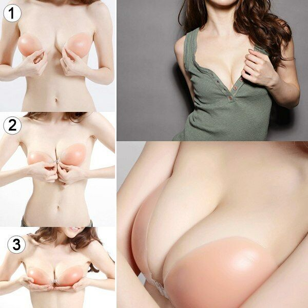 Sexy Push Up Self-Adhesive Silicone Bust Front Closure Strapless Invisible Bra
