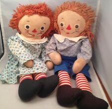 Vintage Johnny Greulle's Georgene Novelties Raggedy Ann & Andy Dolls Button Eyes