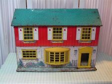 ~ Vintage Tin 2 Story Doll House Metal Colorful Dollhouse~