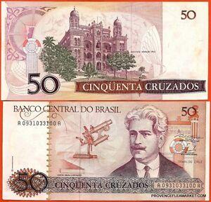 BRESIL-billet-neuf-de-50-CRUZADOS-Pick210a-INSTITUT-OSWALDO-CRUZ-MEDECIN-1986