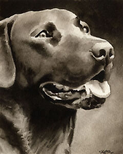 CHOCOLATE LAB LABRADOR Painting Dog ART Print 8 X 10 by Artist DJR