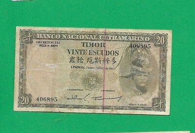 1967 Year Timor Ultramarino Banknote 20 Escudos Coins & Paper Money