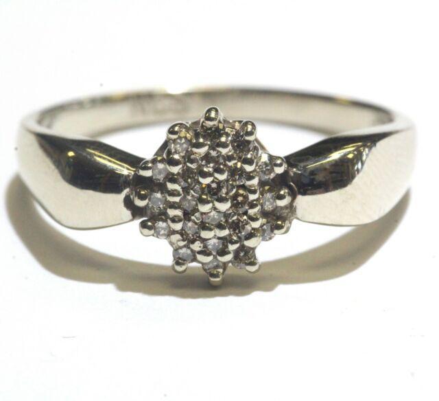 14k white gold .22ct SI1 H diamond womens cluster ring 4g estate vintage