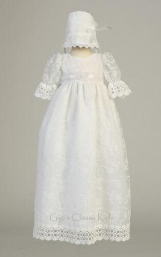 Baby Flower Girls White Tulle 2 Pc Dress Gown Christening Baptism Bonnet Infant