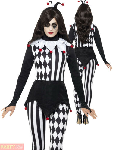 Mesdames Jester Costume Halloween Adulte Harlequin Clown Fancy Dress Womans Outfit