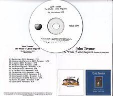 JOHN TAVENER The Whale / Celtic Requiem UK Apple remastered 13-trk promo test CD